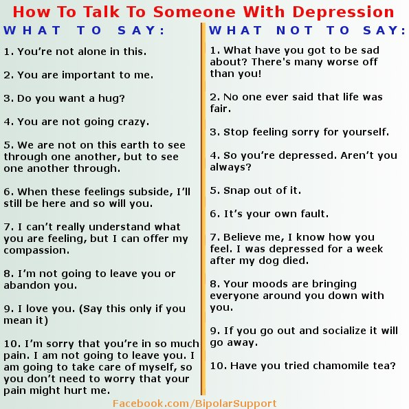 Someone to talk to depression